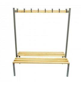 Double Sided Cloakroom Bench with Coat Hooks