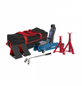 Sealey 2tonne Low Entry Short Chassis Trolley Jack - Blue and Accessories Bag Combo