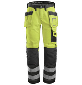 Snickers 3233 High-Vis Holster Pocket Trousers, Class 2