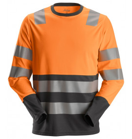 Snickers 2433 AllroundWork, High-Vis Long Sleeve T-Shirt Class 2