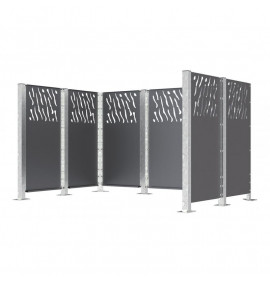 Decorative fence and wheelie bin stores in steel (Venice Cladding)