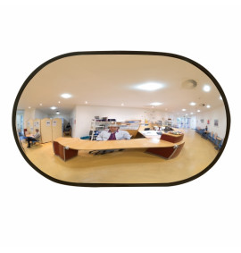 DETECTIVE (Acrylic) Internal Wall Mounted Convex Mirror - Oval - Black Frame