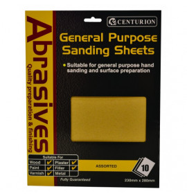 Assorted Sandpaper (Pack Of 10)