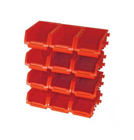 Faithfull 12 Plastic Storage Bins with Wall Mounting Rails - FAIPAN12