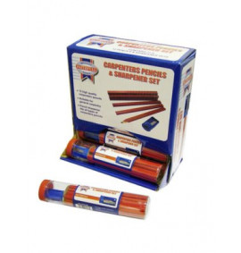 Faithfull Carpenters Pencils Tube (Tube of 12 + Sharpener)