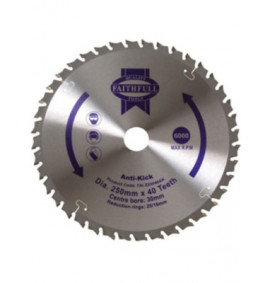 Faithfull Circular Saw Blade 250mm Anti Kick