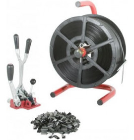 Kit 3 Combination Tensioner/Crimper & Portable Dispenser with 12mm Strap & Seals - STRKIT-3