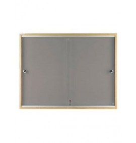 Lockable Noticeboard with Wood Frame - Standard Felt