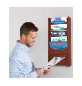 Mahogany Wall & Freestanding Literature Dispenser