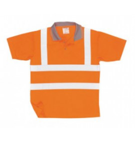 Portwest Hi-Vis Short Sleeved Polo Shirt GO/RT