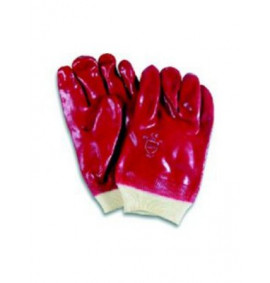 Red PVC Knitted Wrist Wetproof Gloves (Pack of 120)