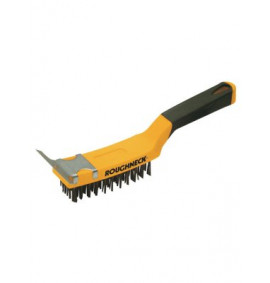 Roughneck Carbon Steel Wire Brush Soft Grip with Scraper 300mm (12in)