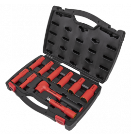 """10pc 1/2""""Sq Drive Insulated Socket Set - VDE Approved"""