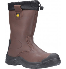 Amblers Brown Tie Top Rigger Safety Boot with Waterproof Lining
