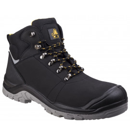 Amblers Black Lace-up Boot with Scuff Cap