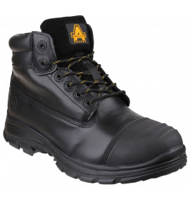 Amblers Black Leather Boot, Scuff Cap, Internal Metatarsal Guard