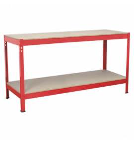 1.53m Steel Workbench with Wooden Top