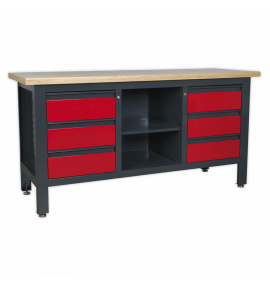 Workstation with 6 Drawers & Open Storage