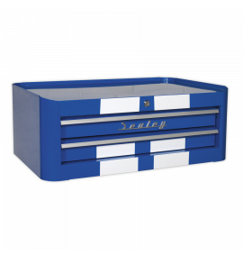 Mid-Box 2 Drawer Retro Style - Blue with White Stripes