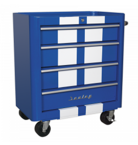 Rollcab 4 Drawer Retro Style - Blue with White Stripes