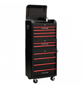 Retro Style Tool Chest Combination 10 Drawer - Black/Red