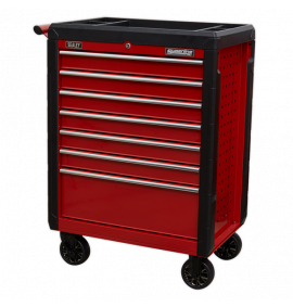 Rollcab 7 Drawer with Ball Bearing Slides - Red