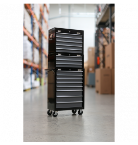 Tool Chest Combination 16 Drawer with Ball Bearing Slides - Black/Grey