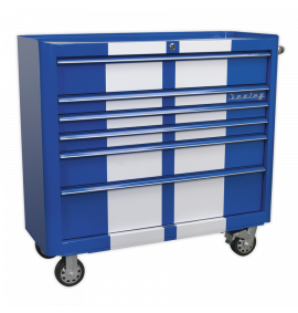 Rollcab 6 Drawer Wide Retro Style - Blue with White Stripes