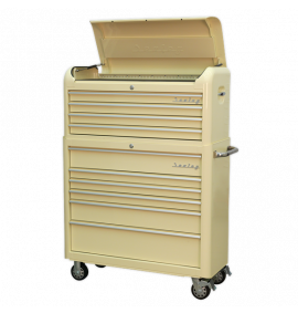 10 Drawer Retro Style Extra-Wide Topchest & Rollcab Combination - Cream