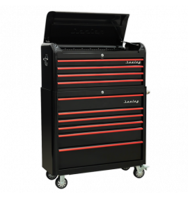 Retro Extra-Wide Tool Chest Combo 10 Drawer - Black/Red