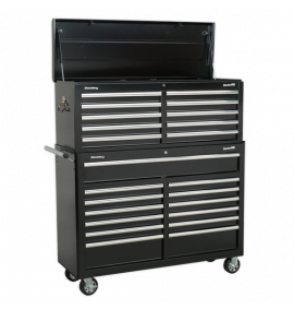 Tool Chest Combination 23 Drawer with Ball Bearing Slides - Black