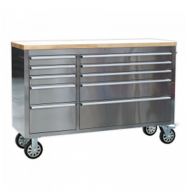 Mobile Stainless Steel Tool Cabinet 10 Drawer