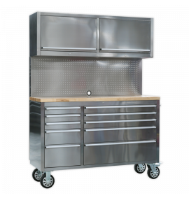 Mobile Stainless Steel Tool Cabinet 10 Drawer with Backboard