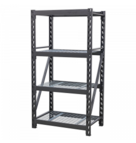 Heavy-Duty Racking Unit with 4 Mesh Shelves