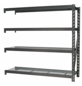 Heavy-Duty Racking Extension Pack with 4 Mesh Shelves