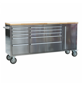 Mobile Stainless Steel Tool Cabinet 10 Drawer & Cupboard