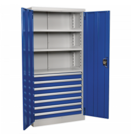 Industrial Cabinet 7 Drawer 3 Shelf 1800mm