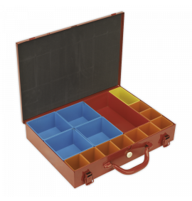 Metal Case with 15 Storage Bins