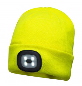 Portwest LED Beanie Hat With Head Light USB Rechargable