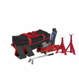 Trolley Jack 2tonne Low Entry Short Chassis - Red & Accessories Bag Combo