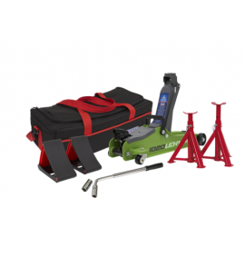 Sealey 2tonne Low Entry Short Chassis Trolley Jack - Hi-Vis Green and Accessories Bag Combo