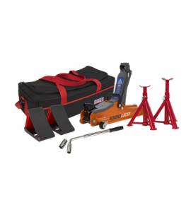 Sealey 2tonne Low Entry Short Chassis Trolley Jack - Orange and Accessories Bag Combo