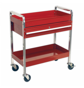 Trolley 2-Level Heavy-Duty with Lockable Drawer