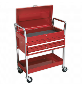 Trolley 2-Level Heavy-Duty with Lockable Top & 2 Drawers