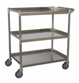 Workshop Trolley 3-Level Stainless Steel