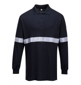 Portwest Flame Resistant Anti-Static Long Sleeve Polo Shirt