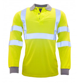 Portwest FR Anti-Static Hi-Vis Long Sleeve Polo Shirt