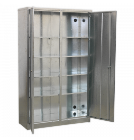 Galvanized Steel Floor Cabinet 4 Shelf Extra-Wide