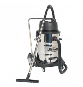Vacuum Cleaner Industrial Wet & Dry 77ltr Stainless Steel Drum with Swivel Emptying 2400W