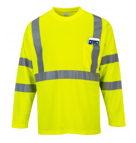 Portwest Hi-Vis Long Sleeve Pocket T-Shirt